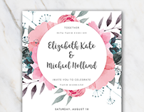 Wedding invitation template Word | pink floral | FREE