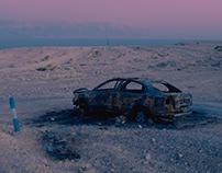 Burnt Out Car. Dead Sea.