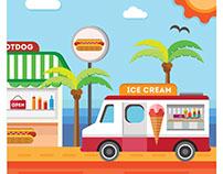 Food Truck Illustration, Menu & Food icons.