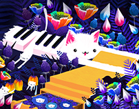 GIF: Piano Cat in the Forest