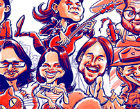 Cartoon group caricatures