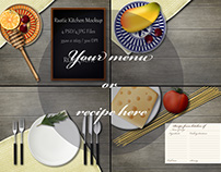 Rustic kitchen mockup for demonstrate menu or recipe