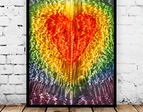 "Hidden Heart - etched aluminum - 24"" x 36"""