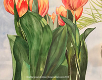 TULIPS + PALM : WATERCOLOUR