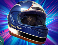 Airbrush and paint helmet racing