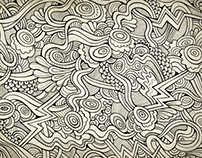 Hand drawn doodles nature background