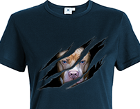 Pit bull Illustration. Pit bull 3D torn effect
