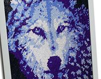 Wolf Swarovski Crystal Art