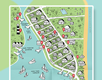 Illustrated maps of vacation islands