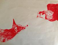 Fox and hen screen print