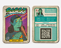 """「外星棒球卡」插畫、名片, 設計   """"Dipsy the Alien"""" Baseball Card"""
