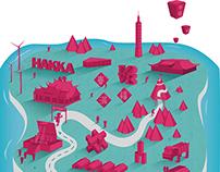 Play on the island - illustration