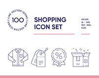 Online Clothes Shopping Line Icon Set