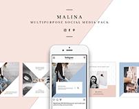MALINA Social Media Pack & 20 Seamless Pattern