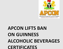APCON LIFTS BAN ON GUINNESS ALCOHOLIC BEVERAGES CERTIFI