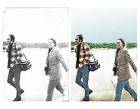 Restoration and colorisation of a honeymoon photograph