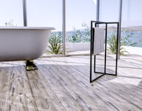 3D visualization of a towel rack collection