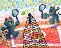 mice playing tennis illustration