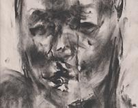 Wet Charcoal Self-Portraits