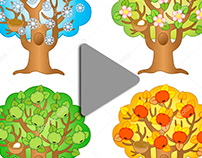 Animation apple tree on a different seasons