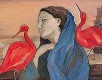 Red ibis. 30x40 cm.