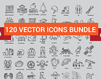 120 vector icon set on different themes