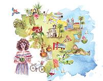 Watercolor Brazil Map