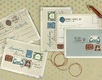 Vintage Stamp Wedding Invitation