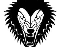 Rabid wolf, vector illustration.