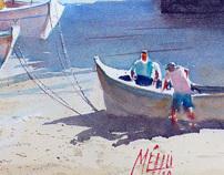 Andre Mehu Watercolor, Copyright France.com K6AJ18B.