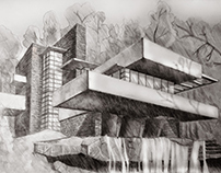 Architectural pencil sketches