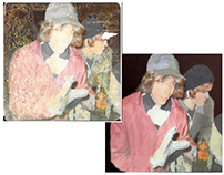Restoration of a badly damaged photograph on a coaster