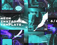Blue Neon Instagram Posts & Stories