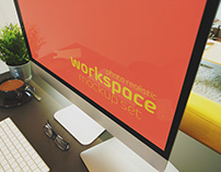 Free Photorealistic Workspace Mockup Set
