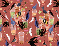 birds and milk tea pattern design