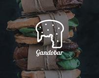 logotipo para la bocadillería GANDOBAR