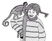 Pippi Langstrømpe Illustration