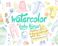 Watercolor Baby Things Clipart