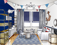 Downtown Jersey City// Nautical Playroom