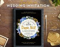 Floral Golden Foil Wedding Invitation