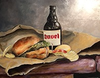 Original Oil Painting of Beer and Burger.