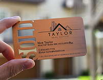 Copper Finish Metal Business Cards for REALTORS