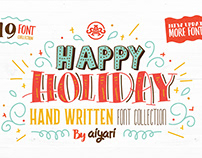 Happy Holiday Hand Written Font Collection + Extras