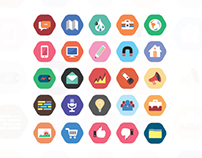 Flat style cool icon set