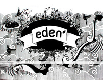 mural at EDEN cafe and lounge Bandung