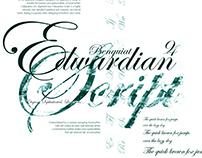 Typography Font Flag & Specimen Sheet: Edwardian Script