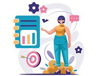 Woman Presenting Business Plan Illustration