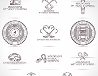 Emblems collection for rock-climbing