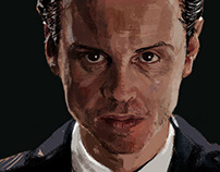 Sherlock and Moriarty. Digital portrait proccess