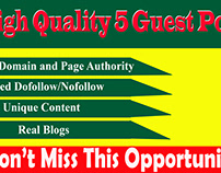 I will provide 5 guest post on high traffic and high da